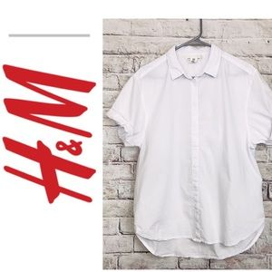 H&M LOGG over sized white high low blouse size 40